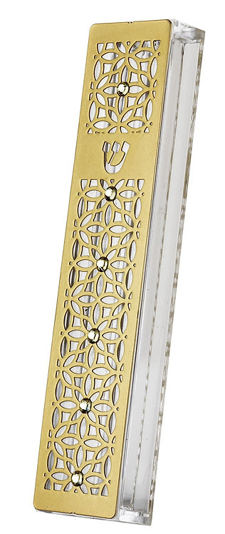 Stainless Steel Mezuzah Case Large Lace Flower-gold