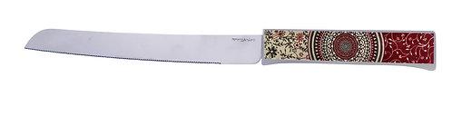 סכין חלה מנדלה בורדו פרחים