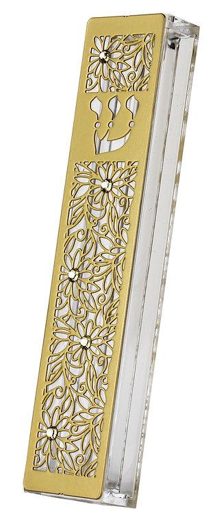 Stainless Steel Mezuzah Case Flower -gold