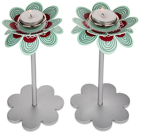 Flower candlesticks - turquoise red