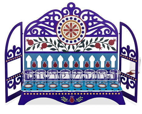Kehilot Israel Menorah -  Pomegaranates and Swirls