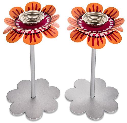 Flower candlesticks - Orange pink
