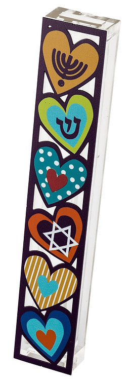 Mezuza for 15 cm scroll, colorful hearts with traditional symbols