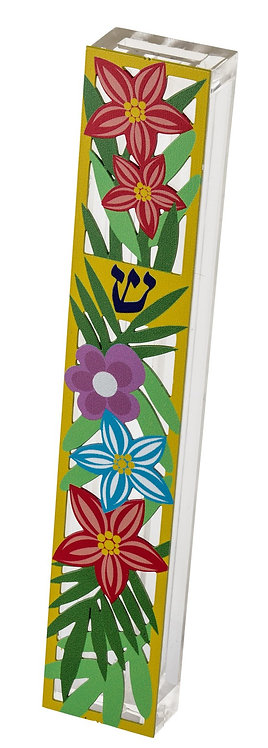 Mezuza for 15 cm scroll, colorful flowers in a yellow frame