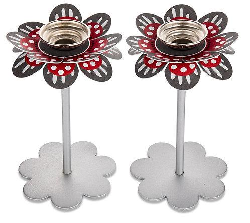 Flower candlesticks - gray red