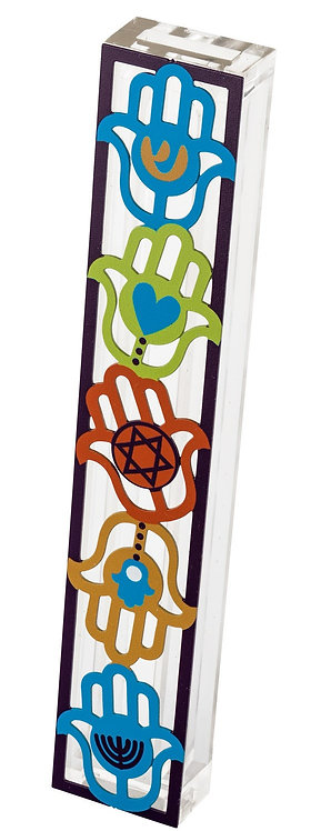 Mezuza for 15 cm scroll, colorful hamsas with traditional symbols