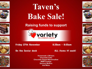 Taven's Bake Sale - Friday 27 November