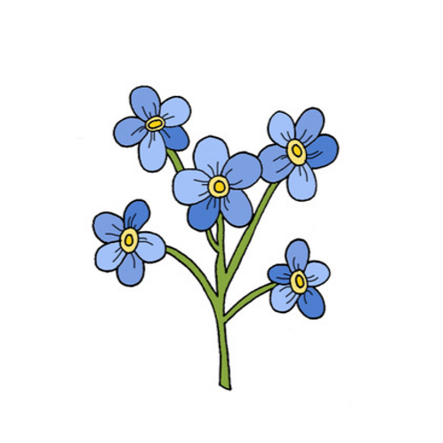 Forget-me-not postal flowers
