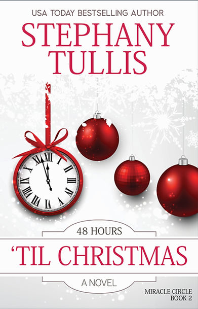 red Christmas ornaments, red analog clock, christmas book cover
