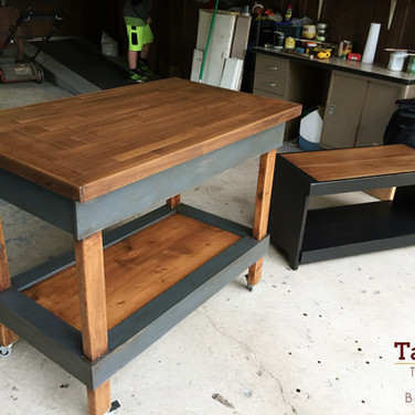 Kitchen island and bench, solid poplar and pine