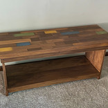 Colorful plank-top bench