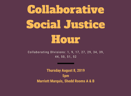 Don't miss Social Justice Hour at APA