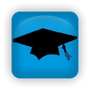 An blue icon with a graduation cap and tassel.