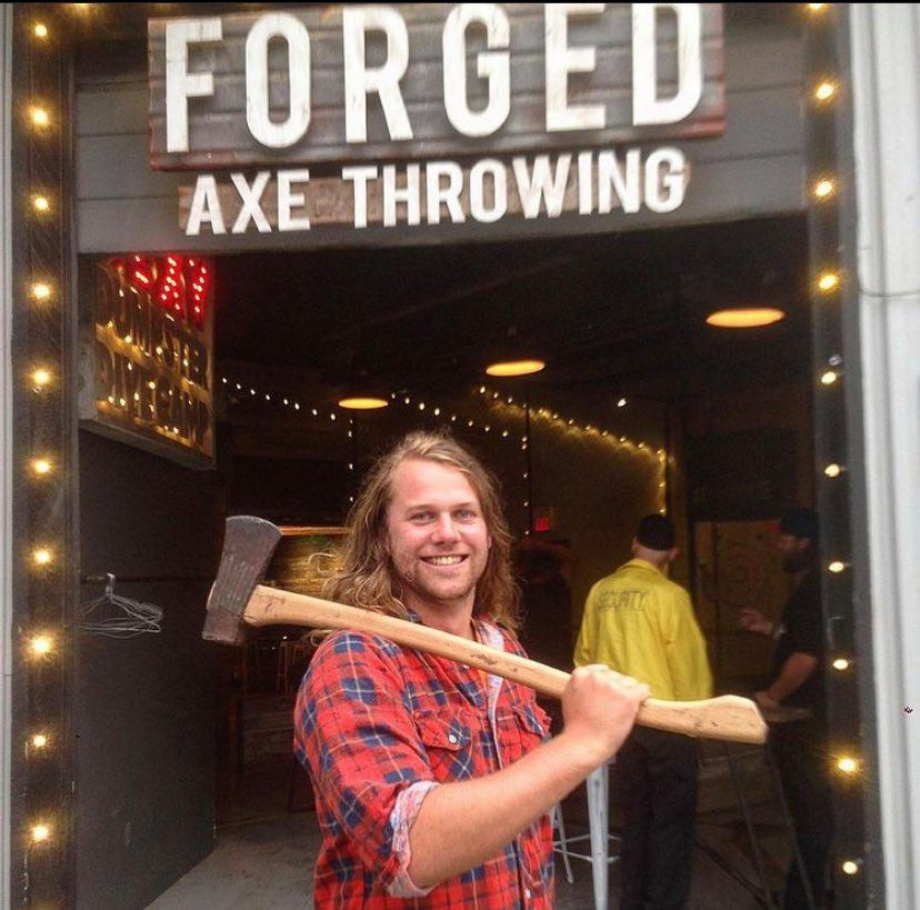 boy, with axe at Forged Axe Throwing Whistler