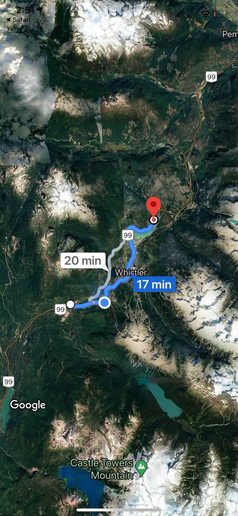 Google maps, Function to Emerald, 17 minutes along highway