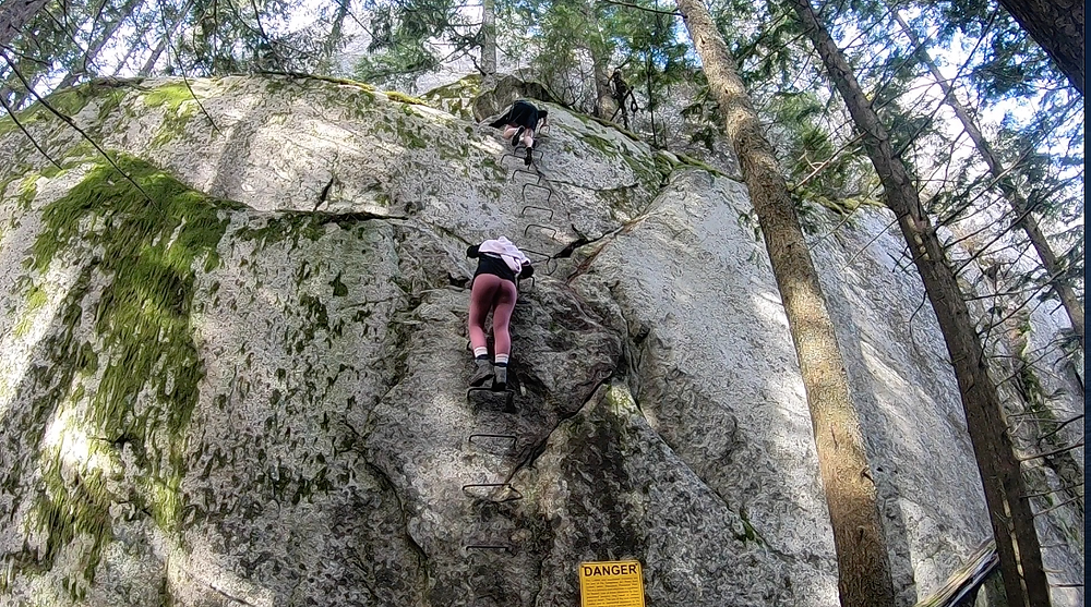 Rock Face: Climbing ladder to third peak of the Chief