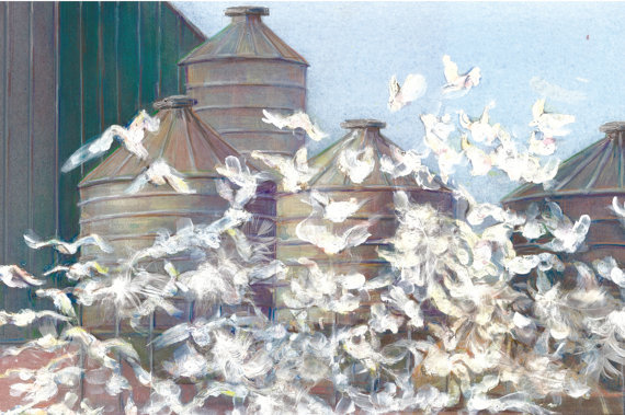 Birds and Silos Greeting Card