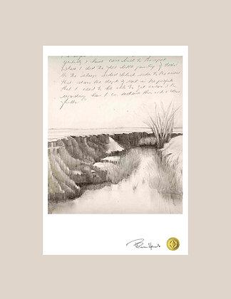 Small Mounted Print - Mooki River Drawing