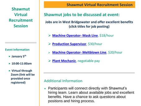 Shawmut Virtual Recruitment Session