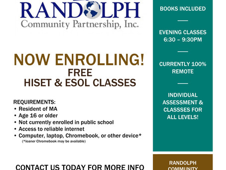 Free HiSet and ESOL classes
