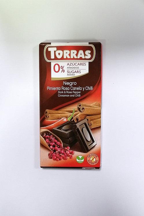 Torras Sugar free Dark & Rose Pepper Cinnamon & Chilli chocolate 75g