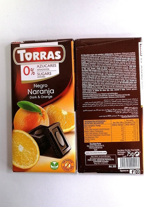 Torras  sugar free Dark & Orange Chocolate 75g