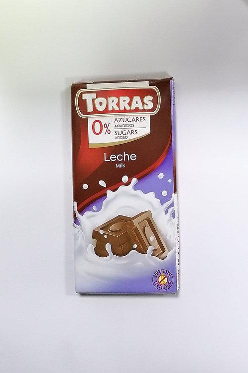 Torras 0 added sugar Leche Milk Chocolate 75g