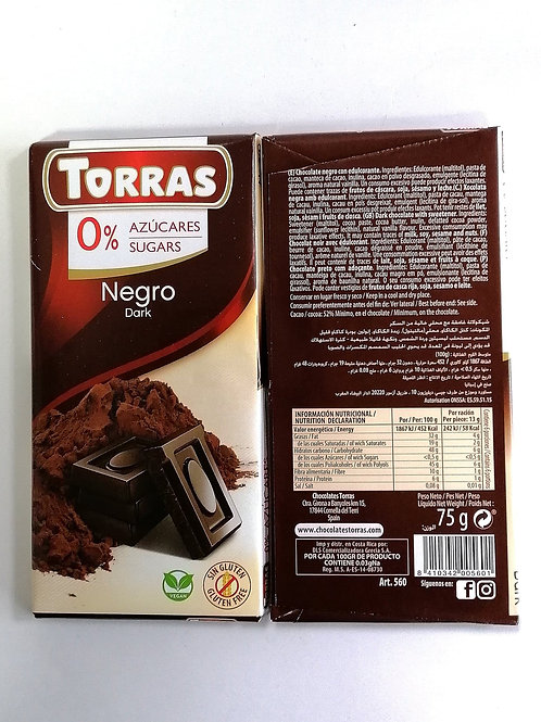 Torras sugar free Dark vegan Chocolate 75g