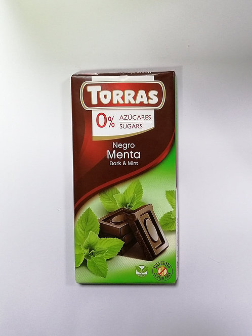 Torras 0 added sugar Dark & Mint Chocolate 75g