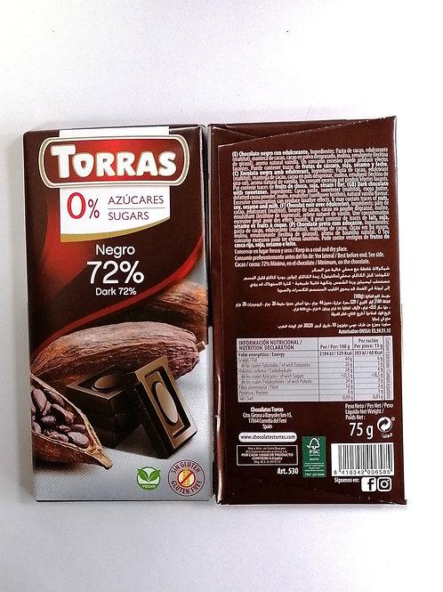 Torras sugar free Dark 72% Chocolate 75g