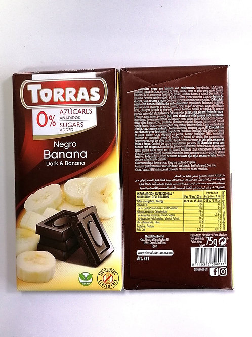 Torras Sugar free Dark & Banana Vegan Chocolate 75g