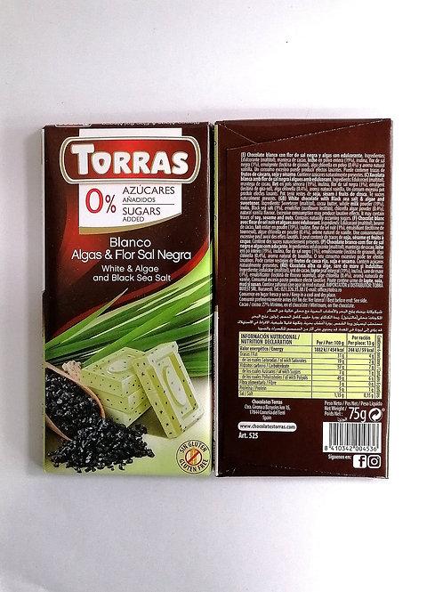 Torras sugar free White & Algae and Black Sea Salt Chocolate 75g