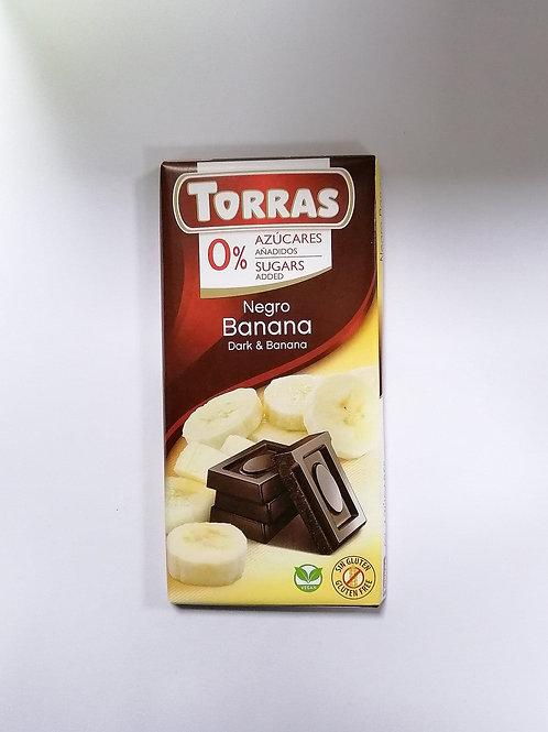 Torras 0 added sugar Dark & Banana Chocolate 75g