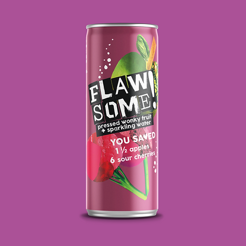 Flawsome Apple & Sour Cherry lightly sparkling juice drink 250ml