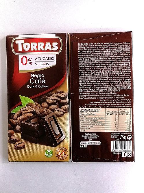 Torras sugar free Dark & Coffee vegan Chocolate 75g