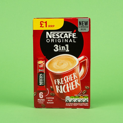 Nescafe Original 3 in 1 Coffee sachets 102g