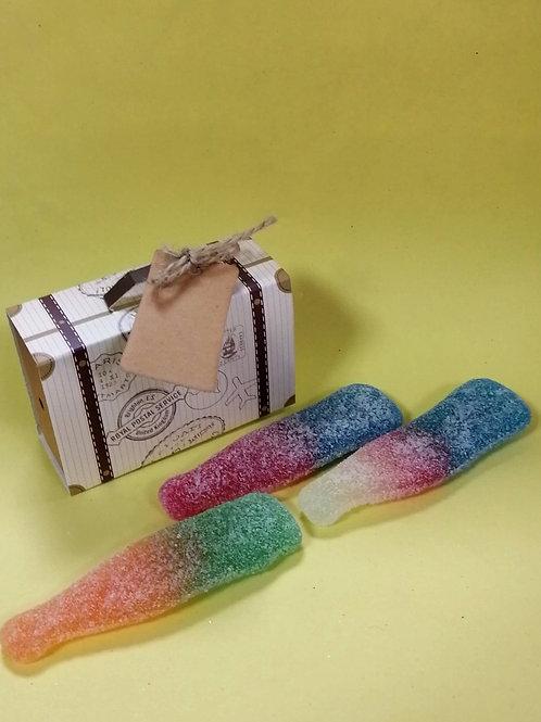Suitcase Box - Halal - Fizzy Tutti Fruity Bottles 50g