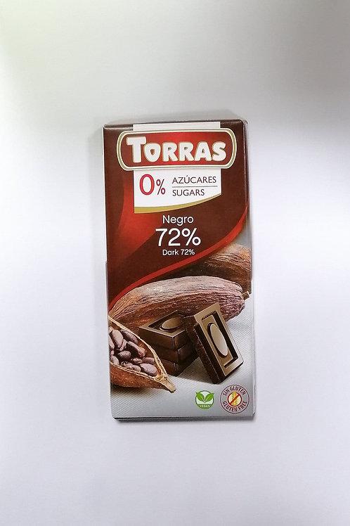 Torras 0 added sugar Dark 72% Chocolate 75g