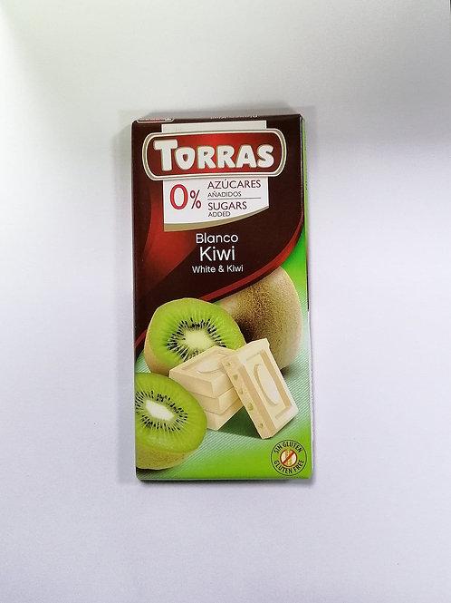 Torras 0 added sugar White & Kiwi Chocolate 75g