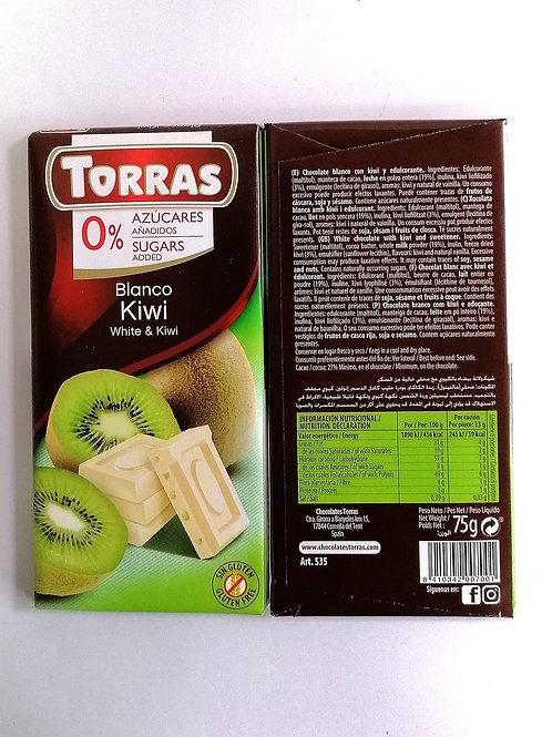 Torras sugar free White & Kiwi Chocolate 75g
