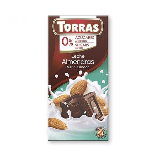 Torras Milk & Almond Chocolate 75g 0 Added Sugar
