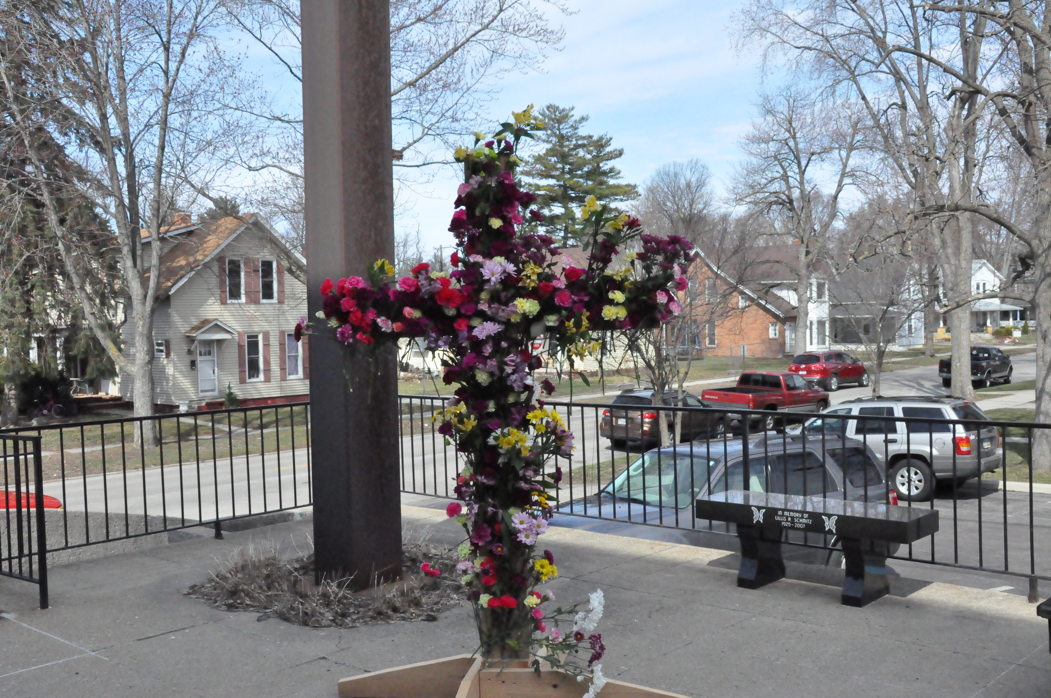 Flowered Cross on the Patio