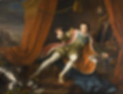 Richard III, Act 5, scene 3: Richard, played byDavid Garrick, awakens after a nightmare visit by the ghosts of his victims. ArtistWilliam Hogarth 1745