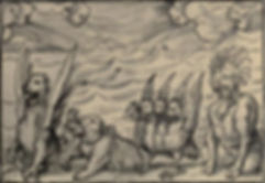 Daniel's vision of the four beasts - woodcut  by Hans Holbein the Younger 16th century