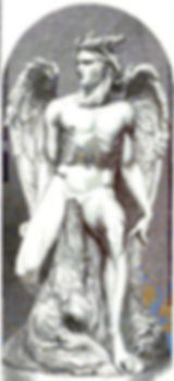Engraving of the colossal statue Satan (or more often under the title Lucifer) by the Milanese sculptor Costantino Corti (1823/24–1873).