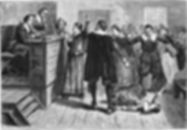 Witchcraft at Salem Village. Engraving. The central figure in this 1876 illustration of the courtroom is usually identified as Mary Walcott