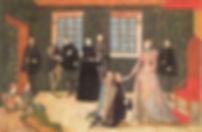 Elizabeth receiving Dutch ambassadors ArtistLevina Teerlinc 1560's
