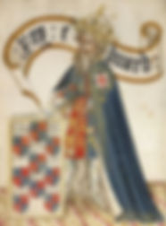 Edward III as head of theOrder of the Garter Drawing in theBruges Garter Book c. 1430–40