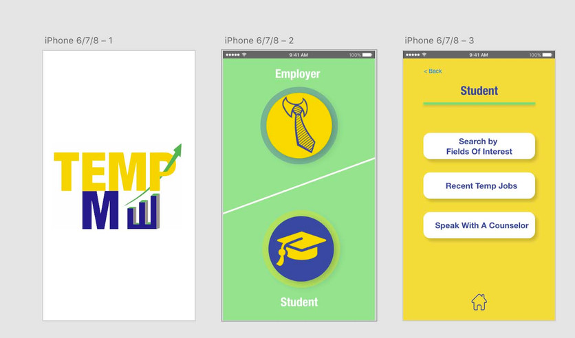 Temporary job hire app for students