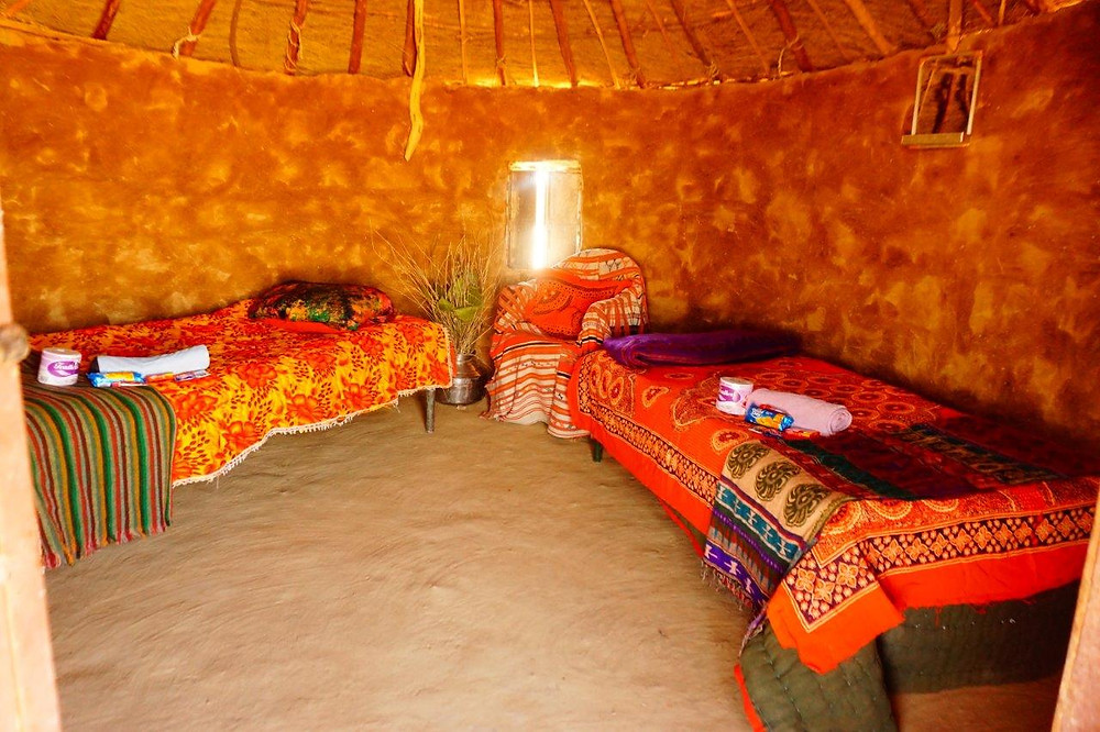 Ready for guests, the round hut prepared for two people. You can fit up to 4 beds in each hut at MKD